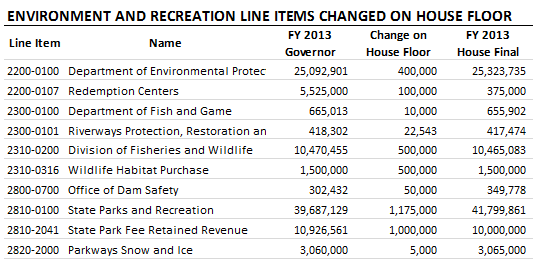 Environment & Recreation line items