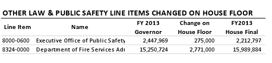 Other Law & Public Safety Line Items